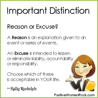 Definition of reasons vs Definition of excuses