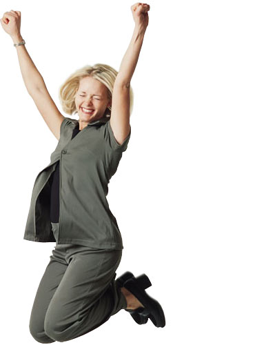 positive woman jumping