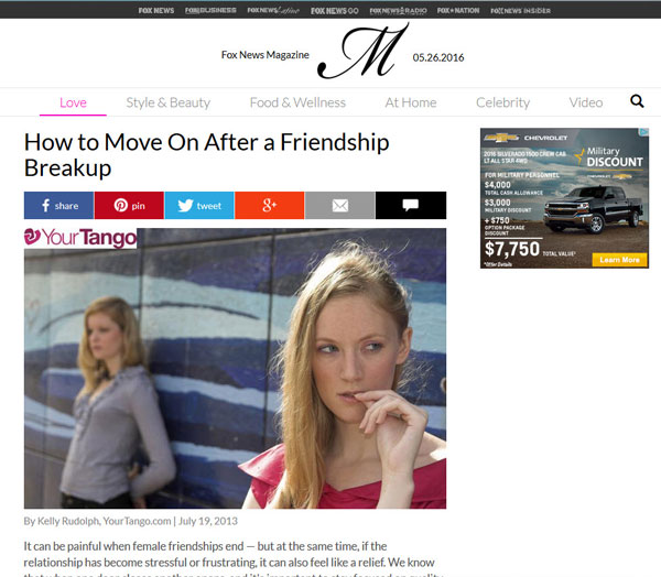 Fox News Article Friendship Breakups